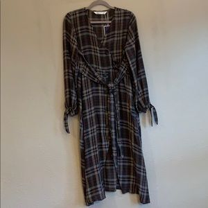 Zara Multicolored Plaid Midi Dress w/Button Detail